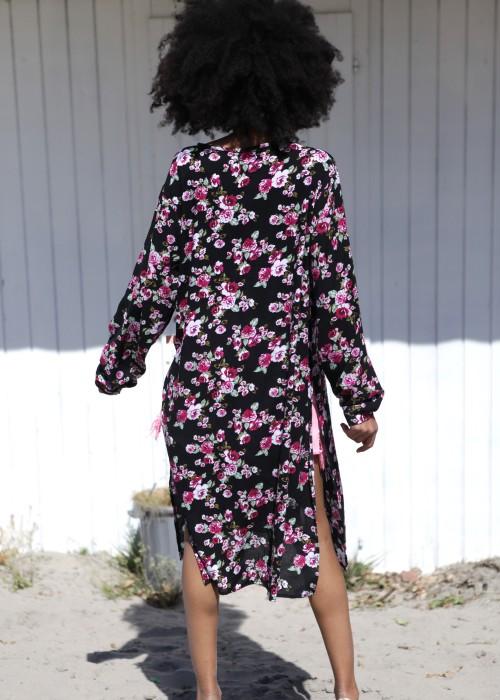 Boho Long Dress Kleid Flower Black