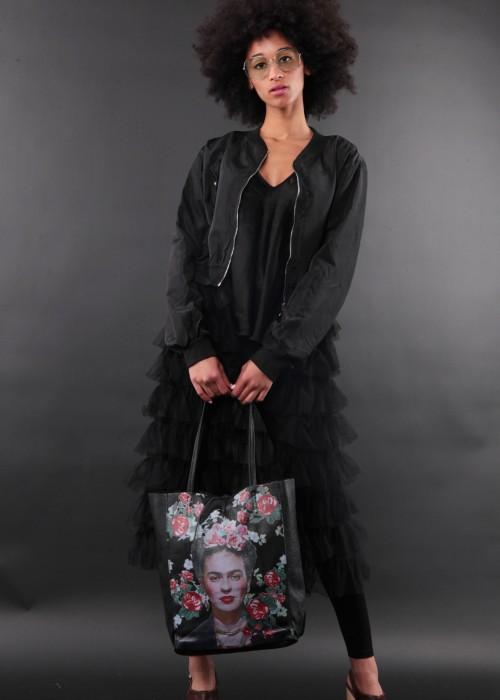 Boho Shopper Tasche Frida Kahlo schwarz
