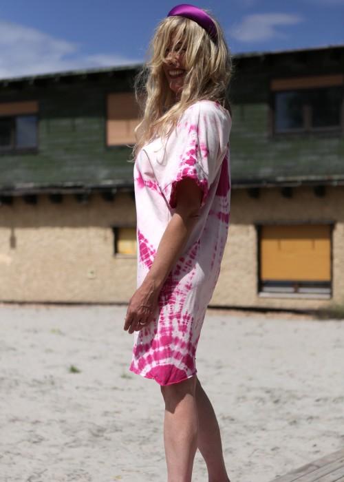 Boho Tunika Kleid Batik Pink