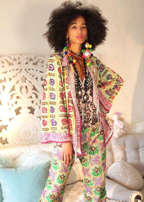 Boho Hemd-Jacke Embroidery mint-gelb