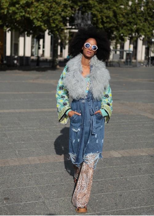 Boho Vintage Jeans Mantel Creme silber