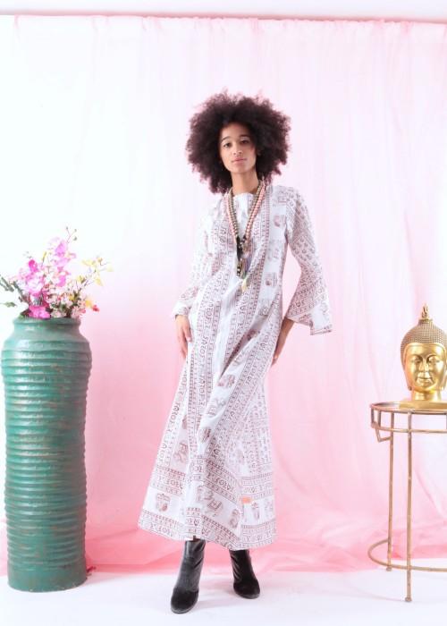 Bohemian Tunika Kleid Gebetstuch weiss