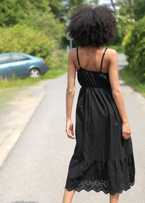 Trägerkleid Cotton Lace schwarz