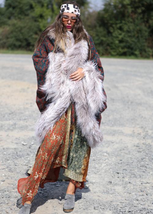 Boho Cape Jacke mit Tibetlamm Paisley