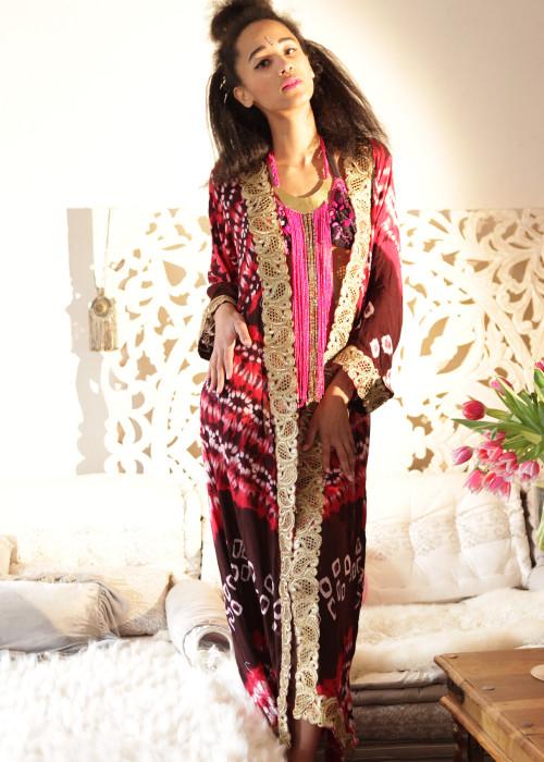 Boho Kimono Karma Batik Nr.6 braun-rot