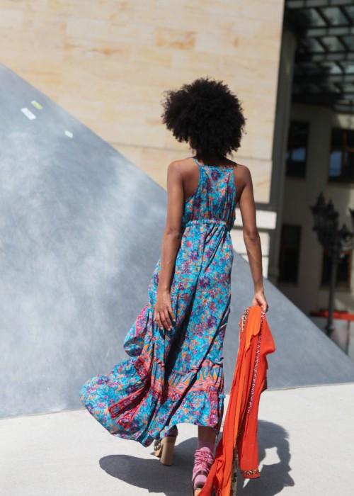 Boho Silk Kleid blau orange