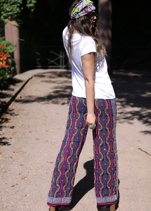Boho Pants Embroidery lila