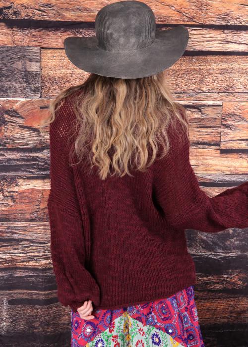 Pullover V-Neck dunkelrot