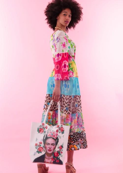 Boho Shopper Tasche Frida Kahlo weiss