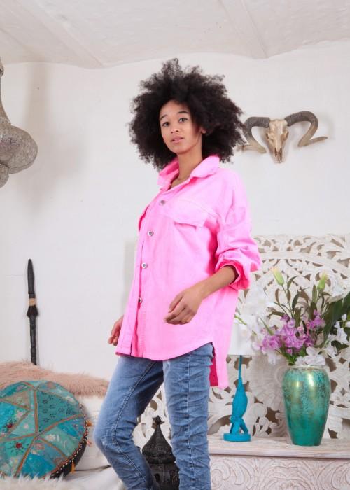 Oversize Jeans Hemd Neon Pink