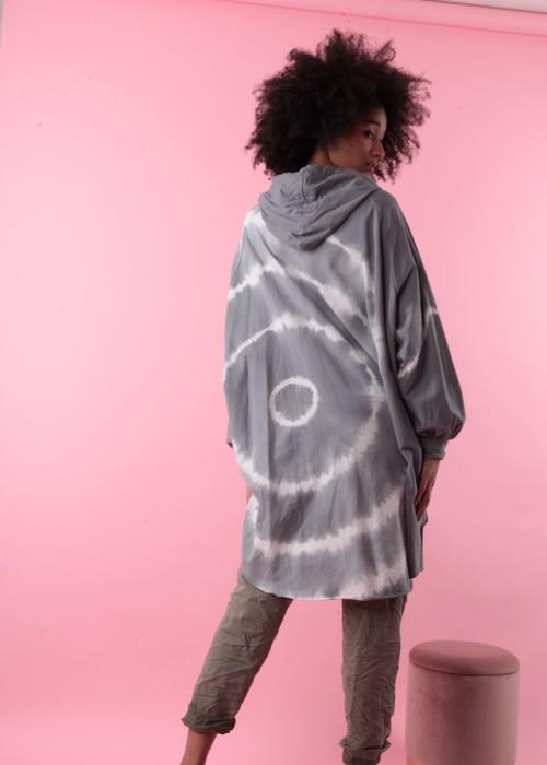 Boho Oversize XXL Sweater Batik grau