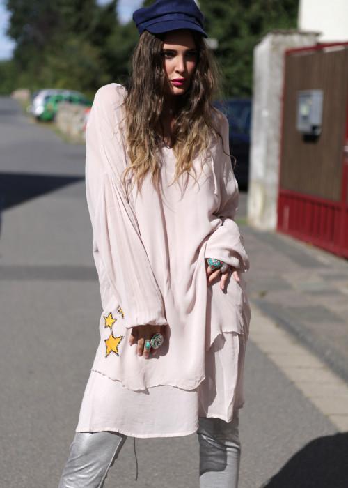 Oversize Tunika Bluse Embroidery Heart puder