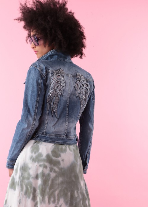 Boho Jeans Jacke Angel Wings