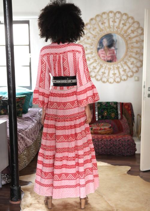 Boho Maxikleid Keffiyeh pink-rosa