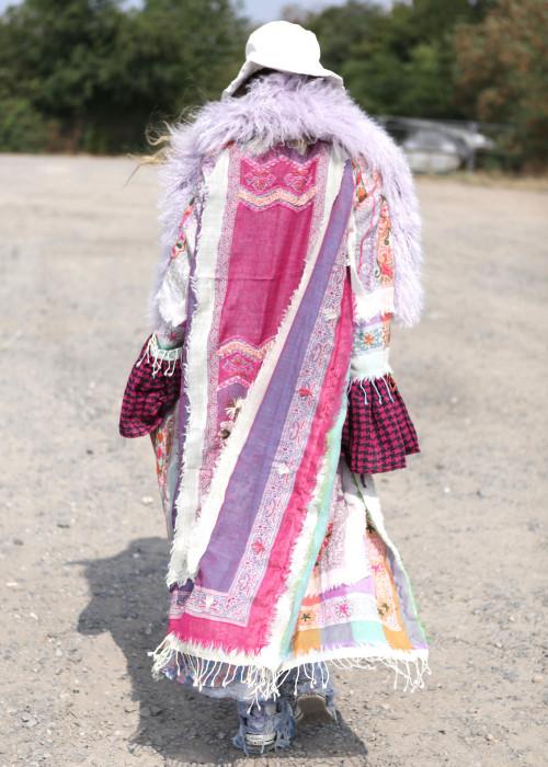 Boho Mantel mit Tibetlamm Pouder rosa-flieder