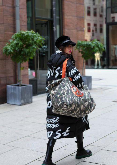 XXL Weekender Tasche Camouflage Peace Orange