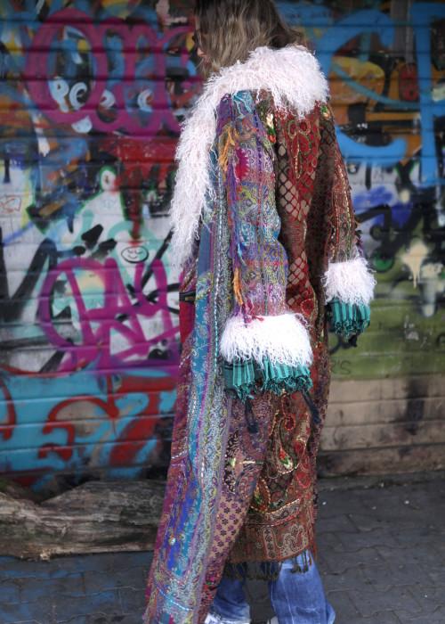 Boho Mantel mit Tibetlamm Multicolor