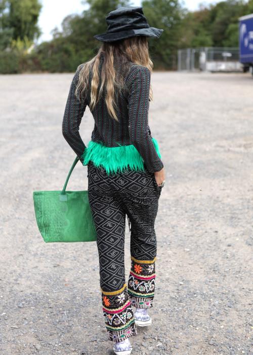 Boho Jacke mit Kunstfell multicolor-gruen