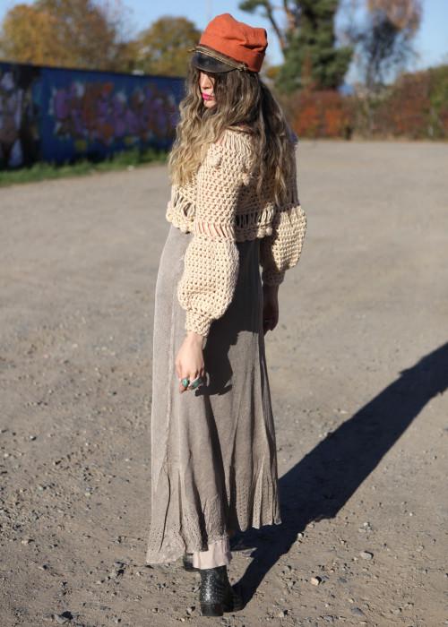 Boho Pullover Crochet beige