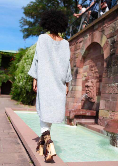 Boho Tunika Pullover Oversize long grau
