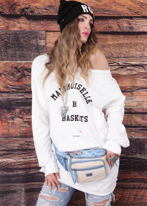 Oversize Sweatshirt En Baskets weiss