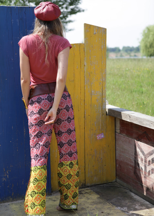 Boho Pants Embroidery rosa-gelb