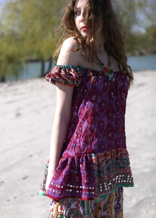 Boho Carmentop Ibiza lila