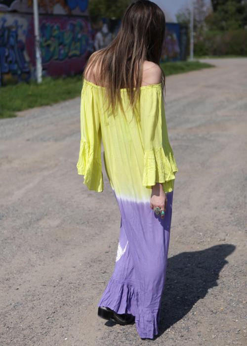 Boho Maxikleid Tunika Peace Batik gelb-lila