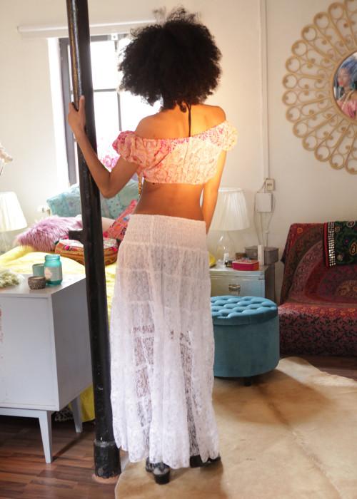 Boho Maxirock Lace weiss
