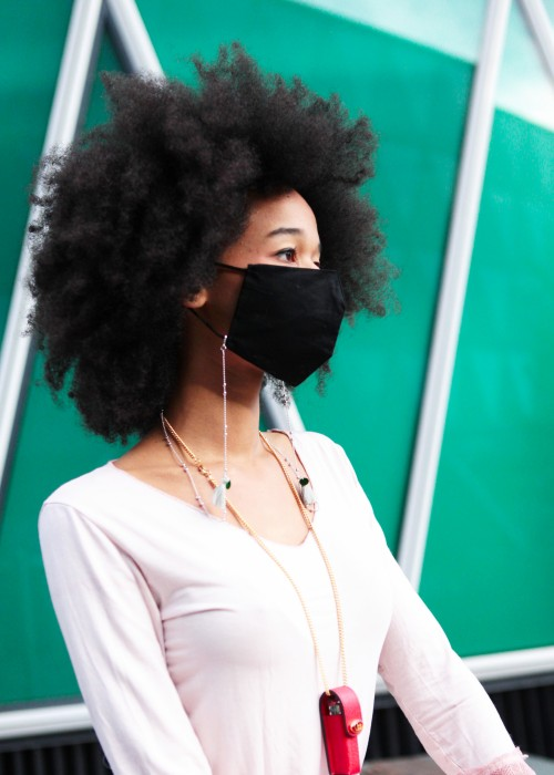 Boho Face Cover schwarz mit Kette