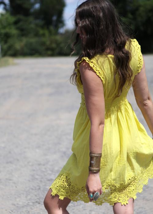 Boho Kleid Lace gelb