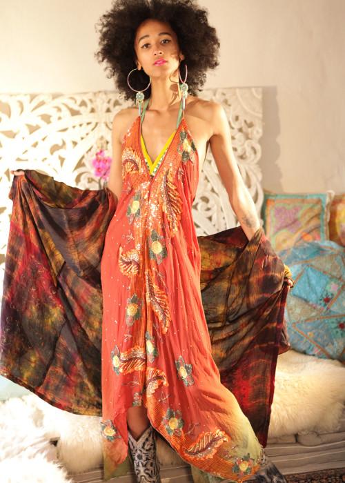 Boho Neckholderkleid Embroidery Chiffon L