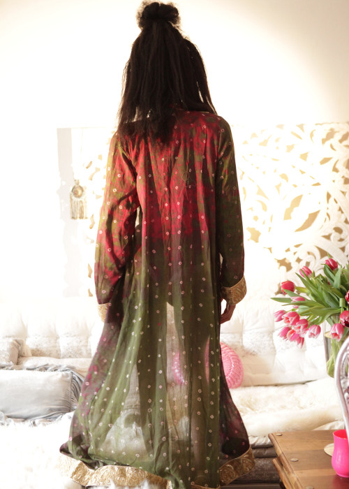 Boho Kimono Karma Batik Nr.2 oliv-rot-gold