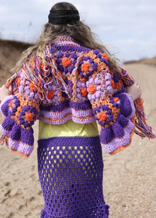Boho Bolero Jacke Crochet Flower lila