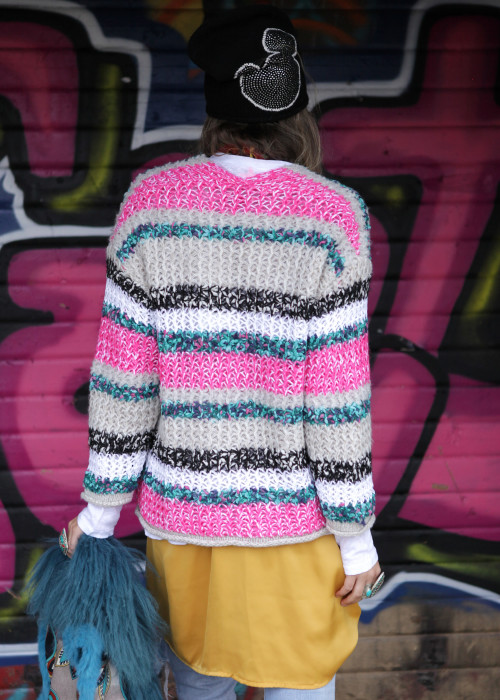 Strickjacke Mohair pink-multicolor