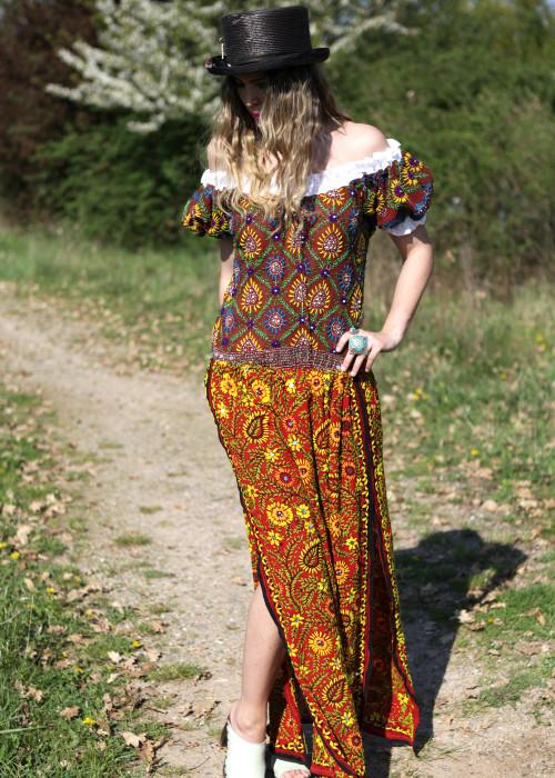 Boho Maxirock Embroidery orange-gelb