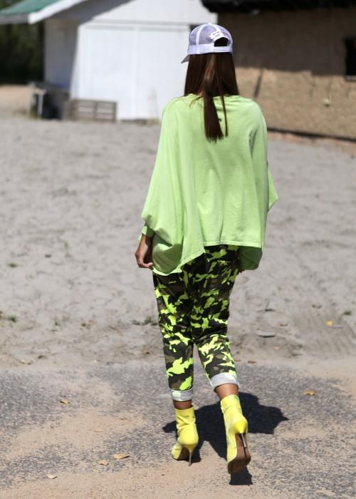 Sarouel Sweathose Camouflage neon Gruen