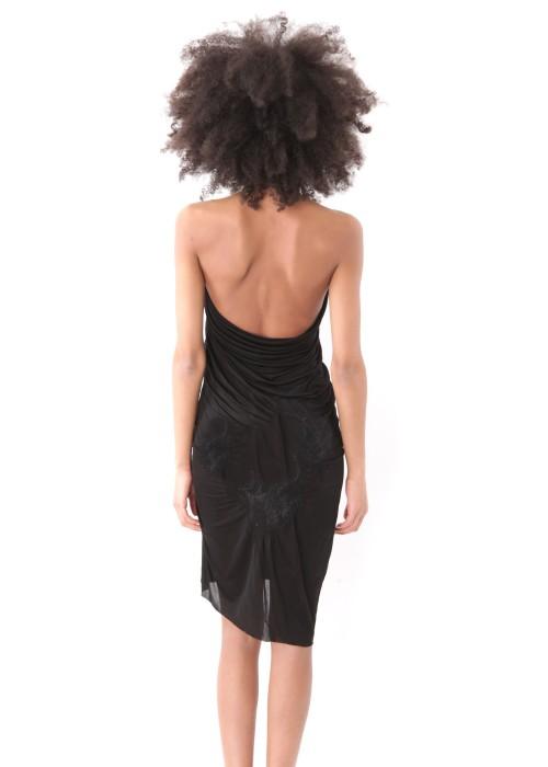 Neckholder Midikleid  Organic Silk schwarz