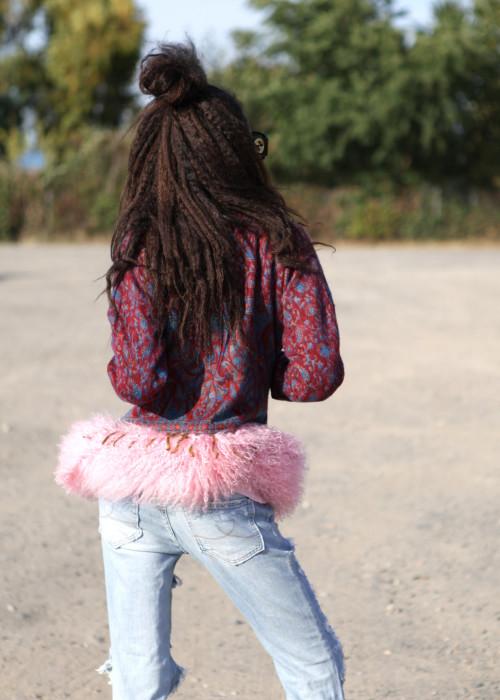 Boho Blazer mit Tibetlamm Paisley rosa