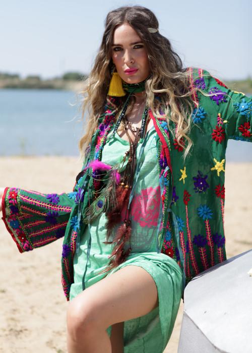 Boho Hemd-Jacke Embroidery gruen